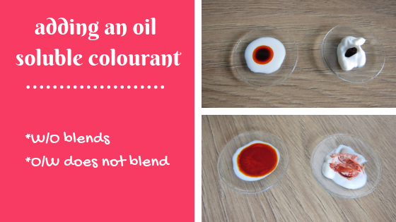 O/W emulsion does not blend with an oil soluble colourant