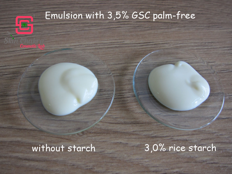 emulsion with and without starch